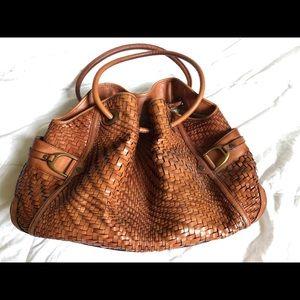 Big brown Cole Haan Genevieve Tote Handbag woven